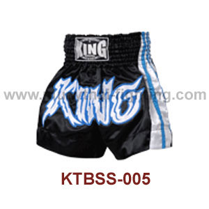 Top King Black Satin Muay Thai Shorts KTBSS-005