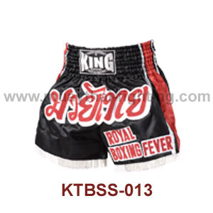Top King Black Royal Boxing Fever Satin Muay Thai Shorts KTBSS-0