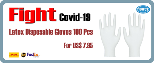 Latex Natural Rubber Disposable Powder-Free White Gloves 100 Pieces by Muay Thai Fighting 7.95 USD