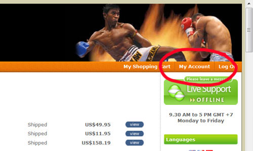 Muay Thai Fighting My Account Page