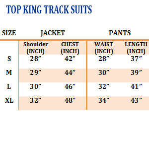 Top King Track Suits Sizing Chart