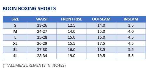 Boon Boxing Shorts Sizing Chart