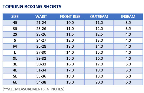 Top King Boxing Shorts Sizing Chart