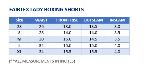 Fairtex Lady Boxing Shorts Sizing Chart