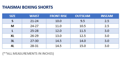 Lady Shorts Sizing Chart