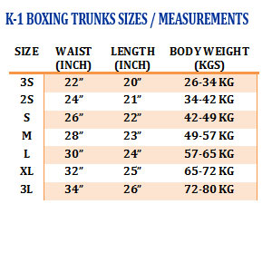 K1-Trunks Sizing Chart