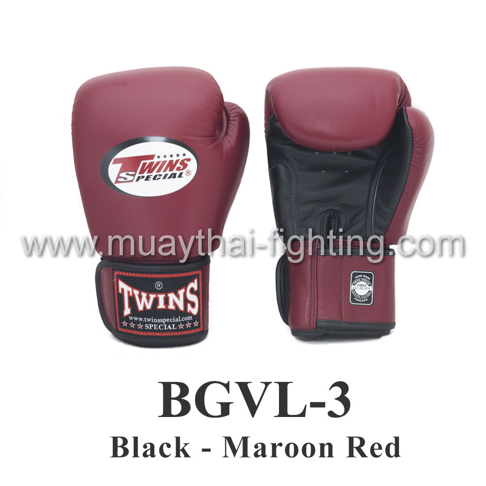 Twins Special Muay Thai Boxing Gloves BGVL-3 Black/Maroon Red