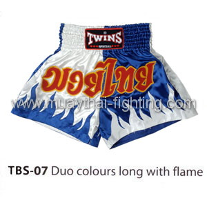Twins Special Muay Thai Shorts Duo colors long with flame TBS-07