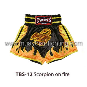 Twins Special Muay Thai Shorts Scorpion on fire TBS-12