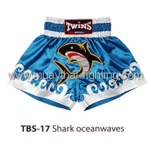 Twins Special Muay Thai Shorts Shark oceanwaves TBS-17