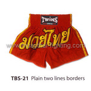 Twins Special Muay Thai Shorts Plain two lines borders TBS-21
