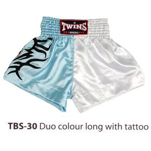 Twins Special Muay Thai Shorts Duo color long with tattoo TBS-30