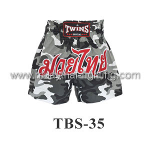 Twins Special Muay Thai Shorts Army Grey TBS-35