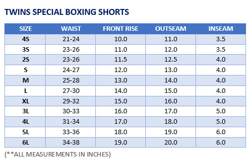 Twins Special Boxing Shorts Sizing Chart