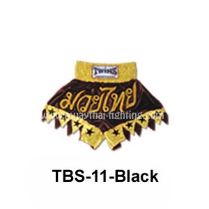 Twins Special Muay Thai Shorts Cut legs with stars TBS-11 Black