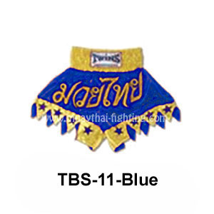 Twins Special Muay Thai Shorts Cut legs with stars TBS-11 Blue