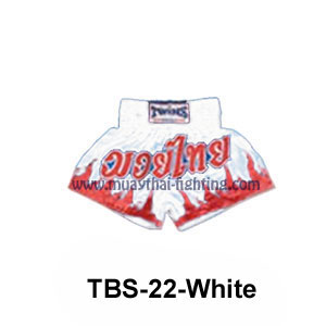 Twins Special Muay Thai Shorts Muay Thai under attack TBS-22 White